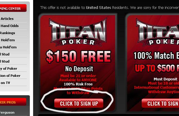 бездепозитный бонус в титан покер 2015